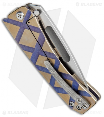 "Medford Custom Midi Marauder Frame Lock Knife Gold/Purple (3.625"" Stonewash)"