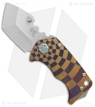 "Medford Panzer Tanto Frame Lock Knife Bronze Ano Checkered (2.5"" Tumbled) MKT"