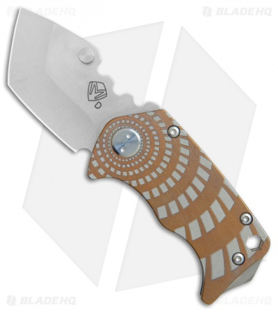 "Medford Panzer Tanto Frame Lock Knife Geometric Bronze Ano (2.5"" Tumbled) MKT"