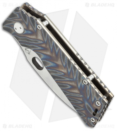 "Medford TFF-1 Big Daddy Frame Lock Knife Custom Flame Ano Ti (4"" Stonewash) MKT"