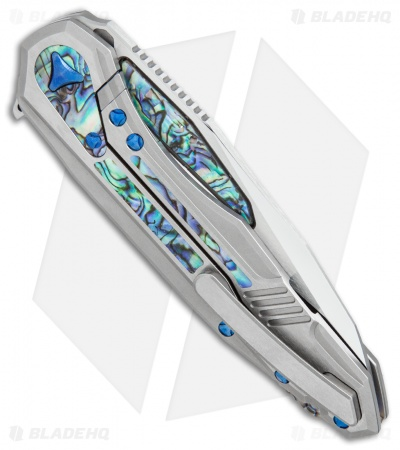 "Marfione Custom Knives Super Sigil Flipper Knife Abalone Inlay (3.5"" Mirror)"