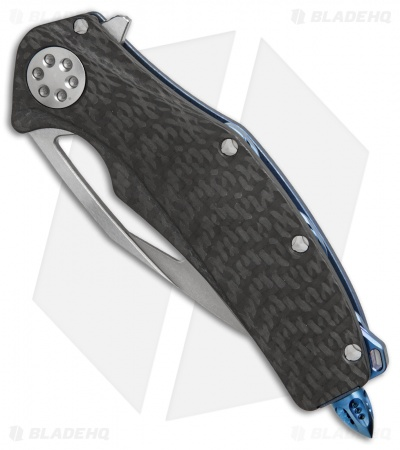 "Marfione Custom Mini Matrix R Knife CF/Asteria Blue (3.25"" Stonewash)"