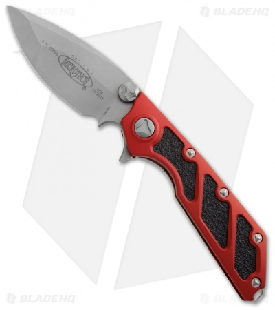 "Microtech DOC Flipper Knife Red Aluminum (3.75"" Bead Blast Plain) 153-7RD"