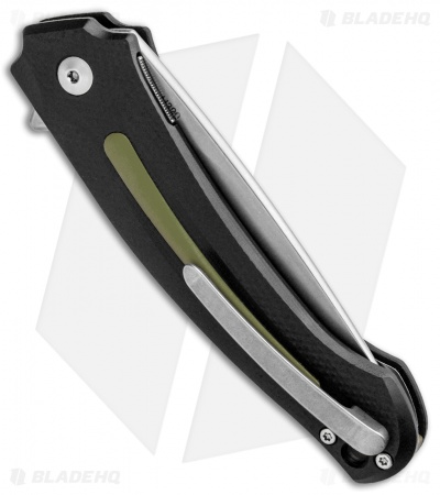 "MKM Burnley Arvenis Liner Lock Flipper Knife Black G-10/Green Al (3.35"" Satin)"