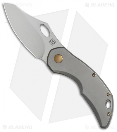 "Olamic Cutlery Busker Semper Frame Lock Knife Gold Nugget Spacer (2.5"" Satin)"