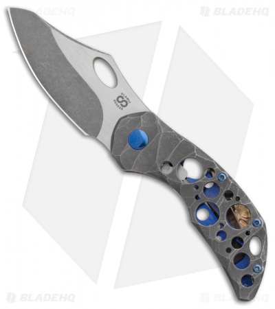 "Olamic Cutlery Busker Semper Knife Darkwash Rocks Ti Acid Rain (2.5"" Two-Tone)"