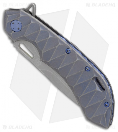 "Olamic Wayfarer 247 Frame Lock Knife Bluewash Scallop Ti (3.5"" Stonewash)"