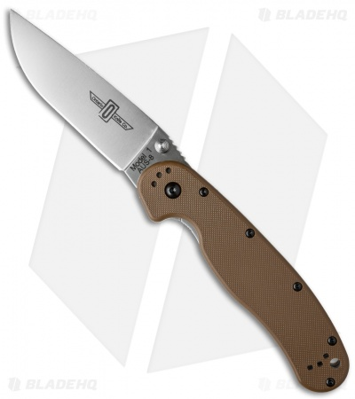 "Ontario RAT Model 1 Liner Lock Knife Coyote Brown (3.625"" Satin) 8848CB"