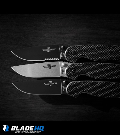 "Ontario RAT Model 1 Liner Lock Knife G-10/Carbon Fiber (3.7"" D2 Black Serr)"