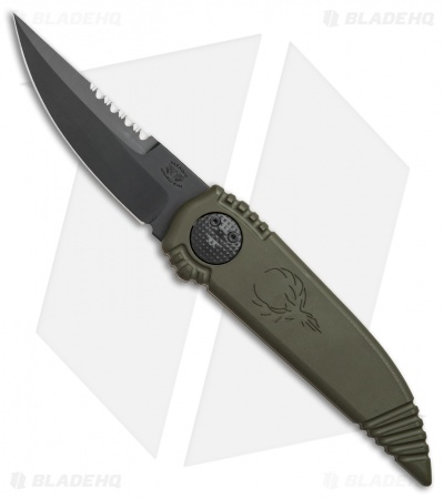 "Asheville Steel Paragon Phoenix Knife OD Green (3.8"" Black Serr)"