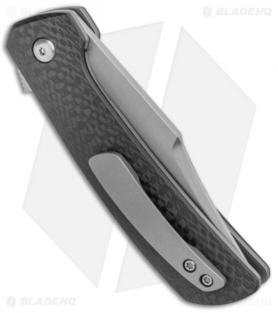 "Pena Knives Custom Bowie Flipper Liner Lock Knife Carbon Fiber (3.25"" Satin)"