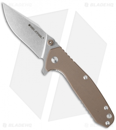 "Real Steel Knives H5 Gerfalcon Frame Lock Knife Brown G-10 (3.25"" Stonewash)"