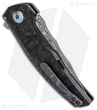 "Reate J.A.C.K. Integral Knife Flame Ti/Marble Carbon Fiber (3.94"" Damasteel)"