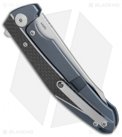 "Reate K-1 Frame Lock Flipper Knife Carbon Fiber/Blue Ti (3.8"" M390 Satin)"