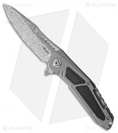 "Reate K-3 Frame Lock Drop Point Flipper Knife Carbon Fiber/Ti (3.875"" Damascus)"