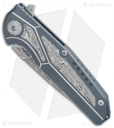 "Reate K-4 Frame Lock Flipper Knife Blue Ti/Damascus (3.75"" Damasteel)"