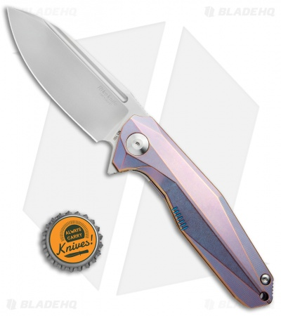 "Rike Knife 1504B Framelock Flipper Knife Purple/Blue Titanium (3.75"" Bead Blast)"