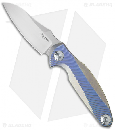 "Rike Knife RK1503 Flipper Knife Blue/Gold Titanium (3.25"" Stonewash)"