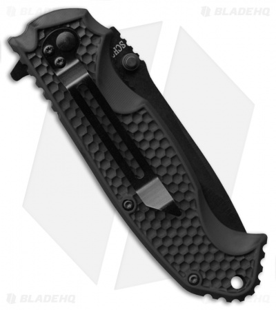 "Schrade Drop Point Liner Lock Knife ABS/TPR (3.25"" Black Serr) SCH001S"