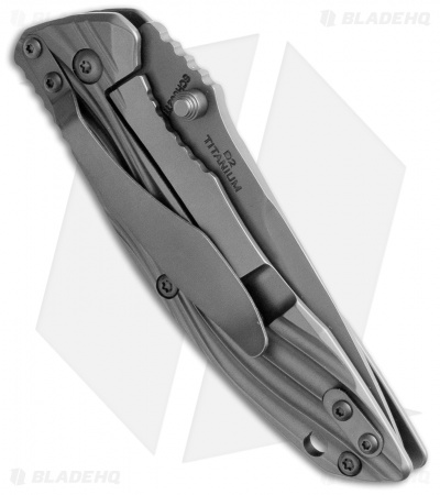 "Schrade 602 Drop Point Frame Lock Knife Titanium (3.375"" Gray) SCH602Ti"