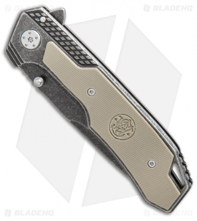 "Smith & Wesson Liner Lock Knife Tan G-10 (3.5"" Black Stonewash) SW609"