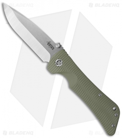 "Southern Grind Bad Monkey Drop Point Knife OD Green G-10 (4"" Satin)"