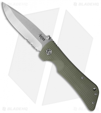 "Southern Grind Bad Monkey Drop Point Knife OD Green G-10 (4"" Satin Serr)"