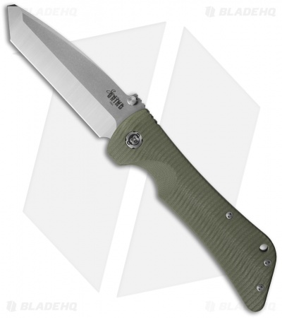 "Southern Grind Bad Monkey Tanto Knife OD Green G-10 (3.8"" Satin)"