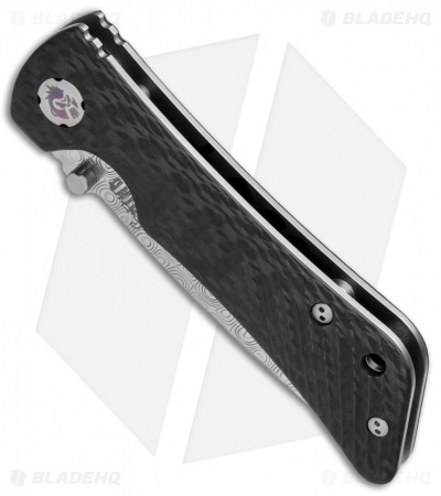 "Southern Grind Spider Monkey Liner Lock Knife Carbon Fiber (3.25"" Damascus)"