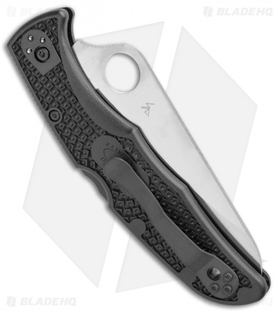 "Spyderco Pacific Salt 2 Lockback Knife Black FRN (3.4"" Satin) C91PBK2"