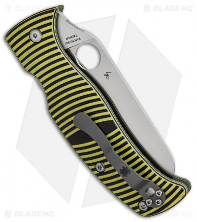 Spyderco Caribbean Sheepsfoot Knife Black/Yellow G-10 (Satin Full Serr) C217GSSF
