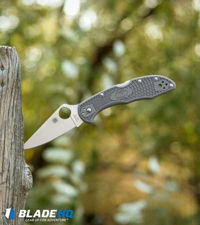 "Spyderco Delica 4 Knife Flat-Ground Gray FRN (2.88"" Satin) C11FPGY"