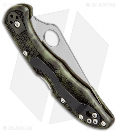 "Spyderco Delica 4 Knife Flat Ground Zome Green FRN (2.88"" Satin) C11ZFPGR"