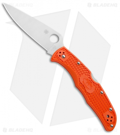 "Spyderco Endura 4 Knife Flat Ground Orange FRN (3.75"" Satin) C10FPOR"