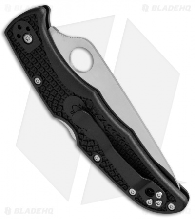 "Spyderco Endura 4 Knife Black FRN Folder (3.75"" Satin Serr) C10PSBK"