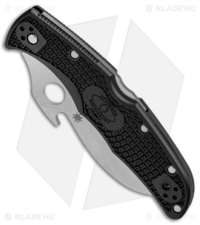 "Spyderco Matriarch 2 Knife Emerson Black FRN (3.57"" Satin Full Serr) C12SBK2W"