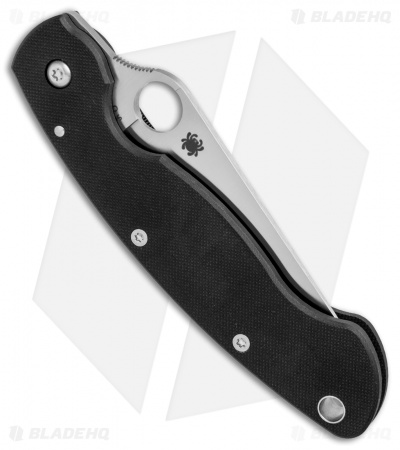 "Spyderco Military Left-Hand Liner Lock Knife Black G-10 (4"" Satin S30V) C36GPLE"