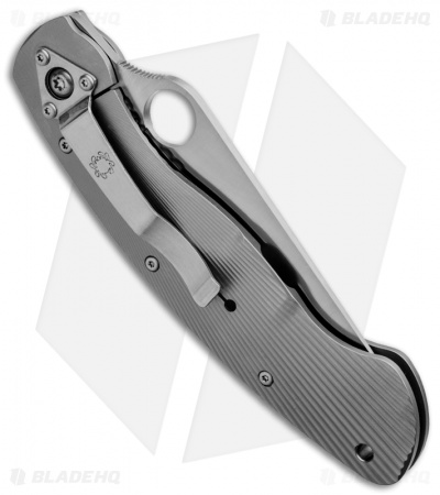 "Spyderco Ti-Mil Military Knife Fluted Titanium (4"" Satin) C36TIFP"