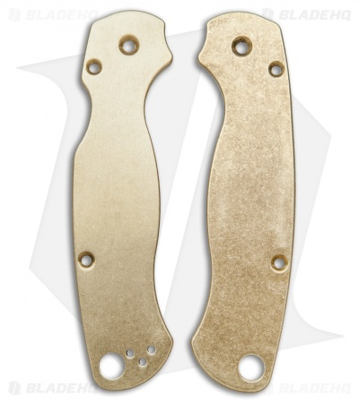 Flytanium Custom Brass Scales for Spyderco Paramilitary 2 Knife - Antique SW
