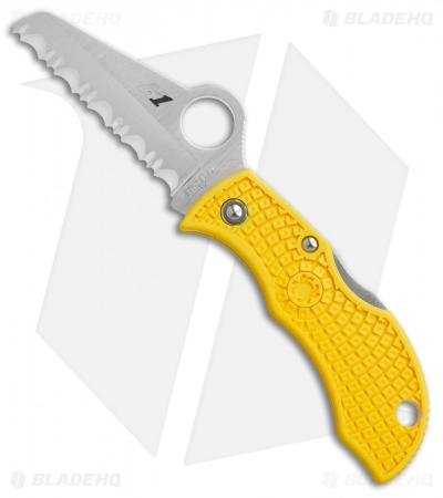 "Spyderco Manbug Salt Lightweight Knife Yellow (1.9"" Satin Full Serr) MYLS"