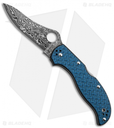 "Spyderco Stretch Blue Nishijin Glass Fiber Knife (3.5"" Damascus) C90GFBLPD"