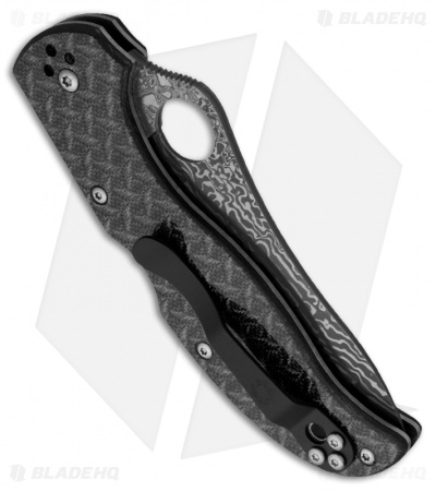 "Spyderco Stretch Nishijin Glass Fiber Folding Knife (3.5"" Damascus) C90GFPD"