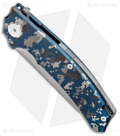 "Stedemon Knife Co. ZKC C-01B Flipper Knife Blue Camo Ti (3.875"" Stonewash)"
