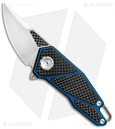 "Stedemon Knife Co. ZKC A01 Flipper Knife CF/Blue Tititanium (2.5"" Satin)"