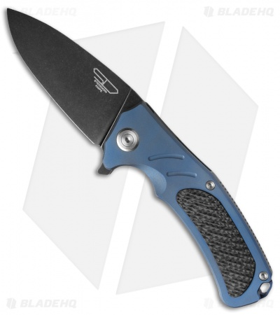 "Stedemon Knife Co. Bastion Frame Lock Flipper Blue Titanium (3.75"" Smokewash)"