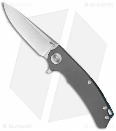 "Stedemon Knife Co. ZKC Flipper Knife Gray Bead Blast Ti (3.5"" Stonewash) B-01"