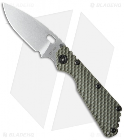 "Strider Knives SMF Knife Green G-10 GG Gunner Grip (3.9"" Stonewash)"