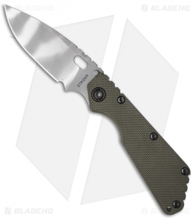 "Strider SMF Frame Lock Knife OD Green G-10/Flame Ti (3.9"" Tiger Stripe)"