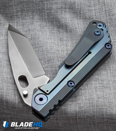 "Duane Dwyer Custom SnG Tanto Knife Stepped Blue Titanium (3.5"" Gray PD-1)"