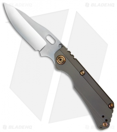 "Duane Dwyer Custom SnG Recurve Knife Brown Stepped Titanium (3.5"" Gray PD-1)"